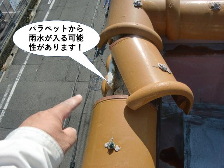 阪南市のパラペットから雨水が入る可能性があります