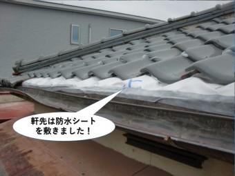 和泉市の軒先は防水シートを敷きました