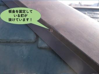 阪南市の板金を固定している釘が抜けています!