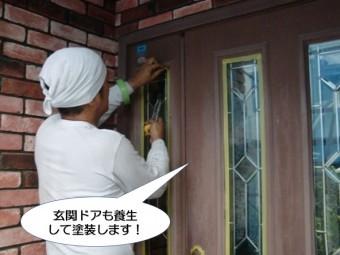 和泉市の玄関ドアも塗装