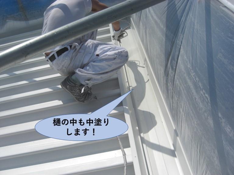 岸和田市の折板屋根の樋の中も中塗りします