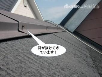 和泉市の板金の釘が抜けてきています