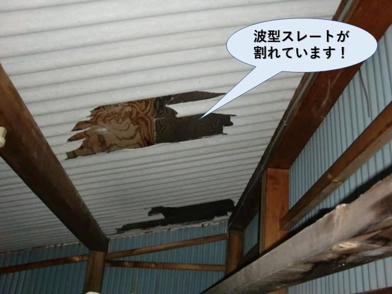 忠岡町の納屋の波型スレートが割れています