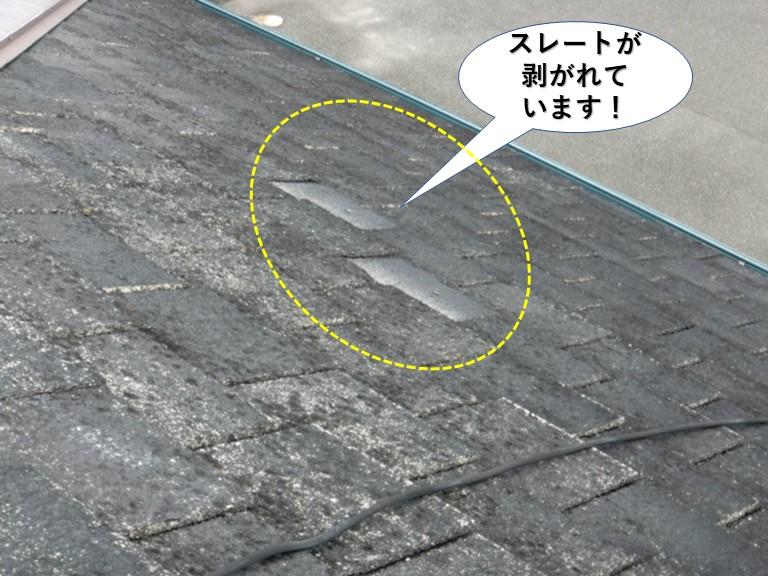 忠岡町のスレートが剥がれています