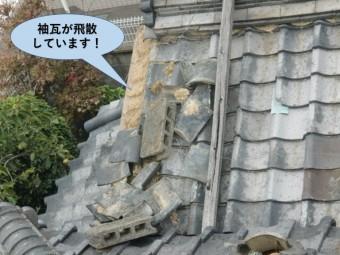 岸和田市の袖瓦が飛散