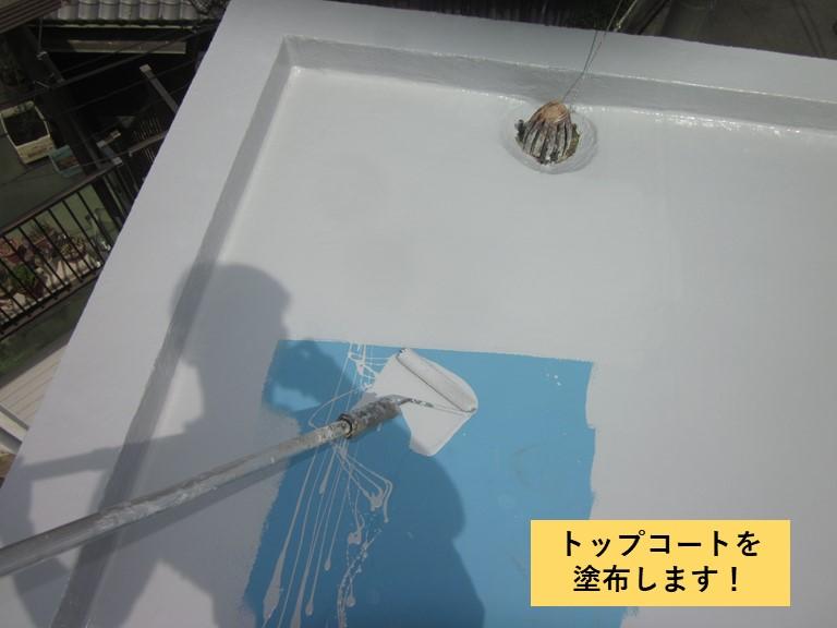 和泉市の陸屋根にトップコートを塗布します