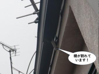 和泉市の樋が割れています