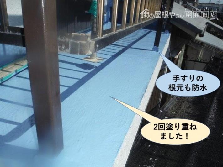 泉佐野市のベランダにウレタン樹脂を塗り重ねました
