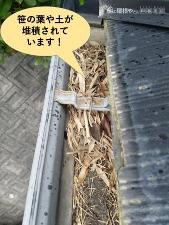 和泉市の樋に笹の葉・土が堆積