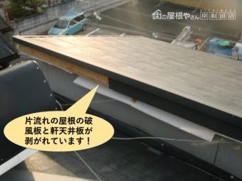 貝塚市の片流れの屋根の破風板と軒天井板が剥がれています