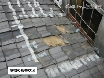 岸和田市のガレージの屋根の被害状況