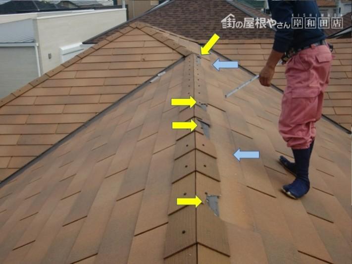 貝塚市の屋根の被害状況