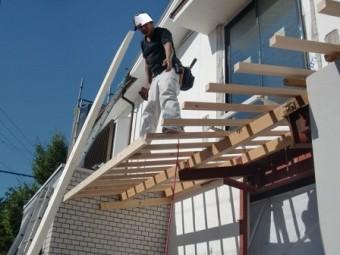 岸和田市上松町の屋根スレート瓦の下屋部分の葺き替えで増築部同時施工