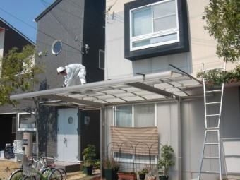 貝塚市のカーポートの屋根仮撤去