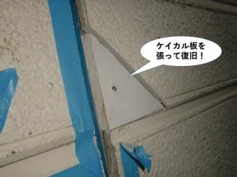 忠岡町の外壁にケイカル板を張って復旧