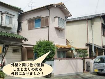 岸和田市のひび割れ修理しスーパーUV・高耐久の多彩模様塗材で外壁塗装をしたお客様の声