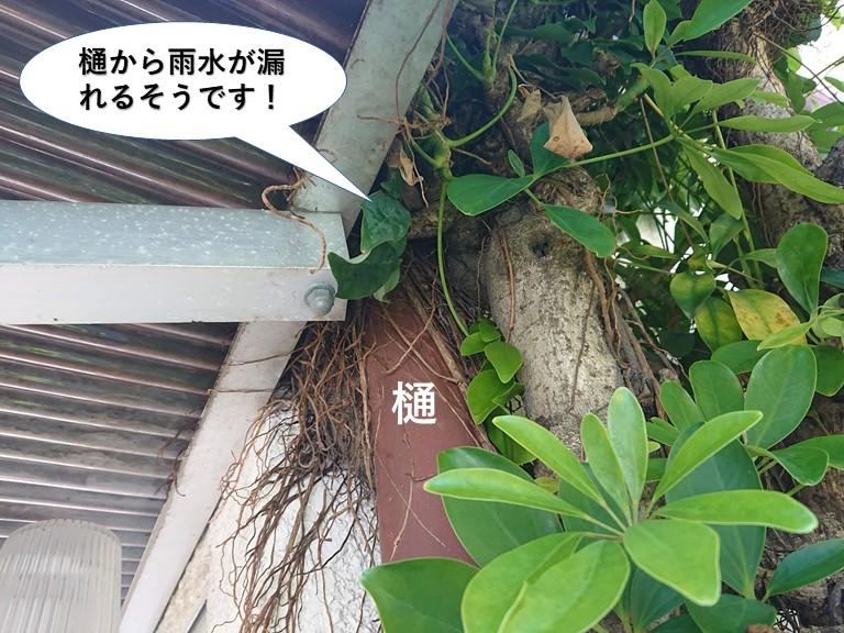 岸和田市の樋から雨水が漏れるそうです