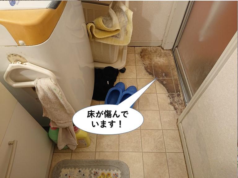 泉南市の洗面所の床の劣化