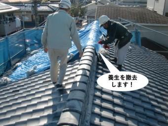 熊取町の町の屋根の養生を撤去します