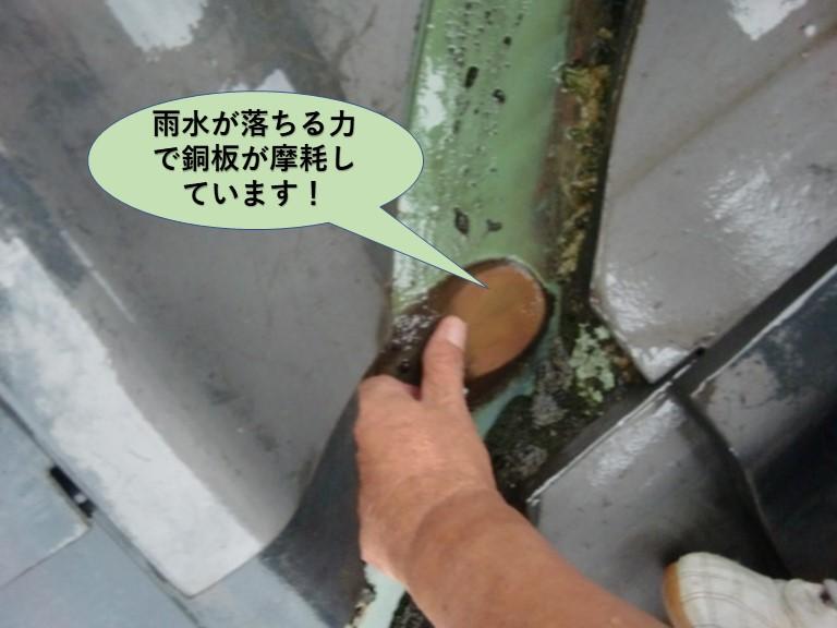 岸和田市の雨水が落ちる力で銅板が摩耗しています