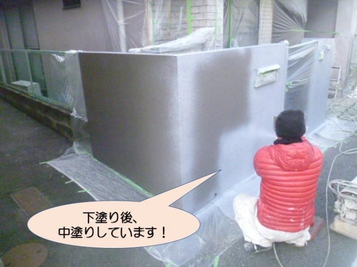 岸和田市紙屋町の家の前の塀塗装