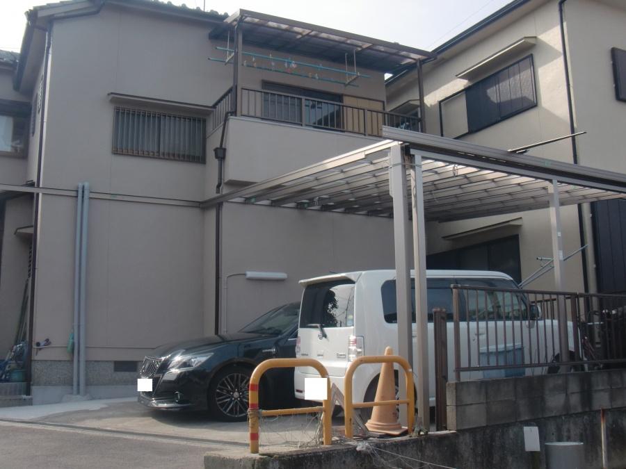 岸和田市神須屋町の大きなカーポートの骨組み設置