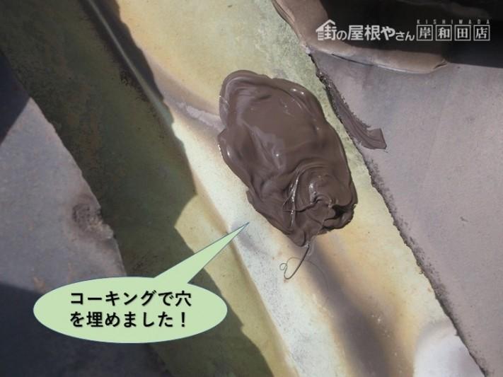 岸和田市の谷樋/コーキングで穴を埋めました
