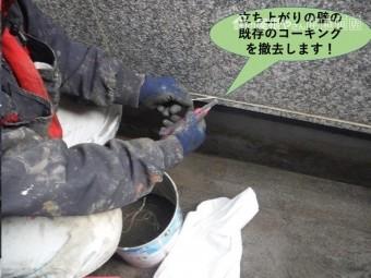 岸和田市のベランダの立ち上がりの壁の既存のコーキングを撤去!