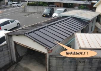 泉北郡忠岡町のガレージの屋根塗装完了