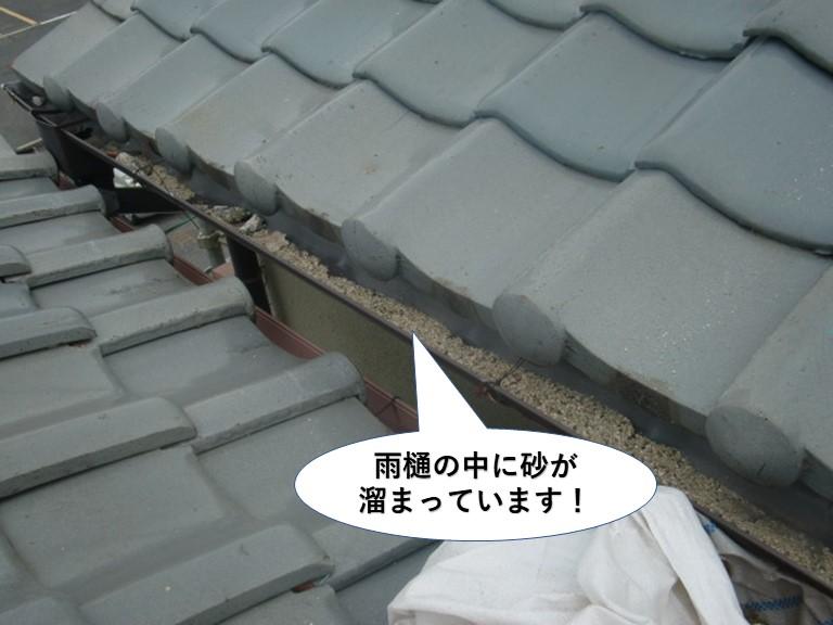 和泉市の雨樋の中に砂が溜まっています