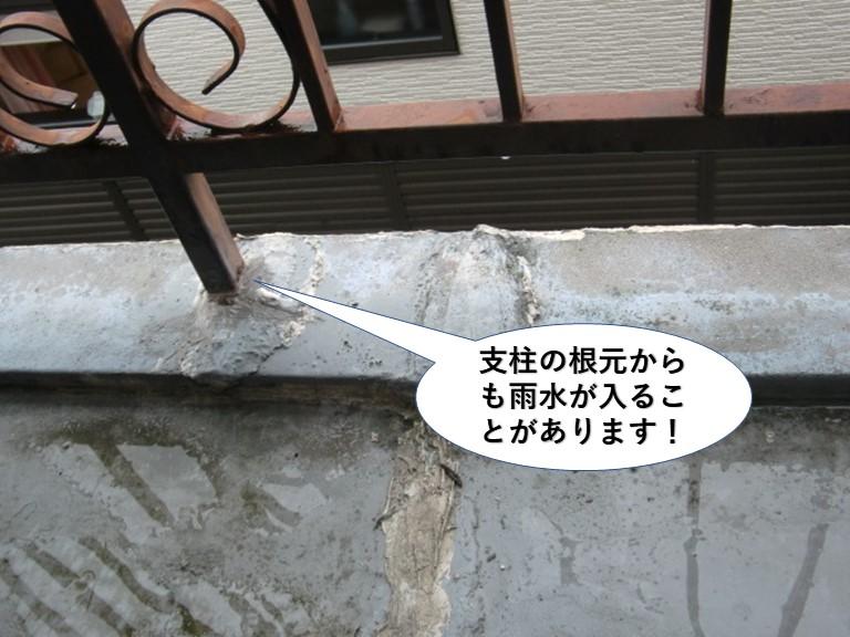 泉大津市の支柱の根元からも雨水が入ることがあります