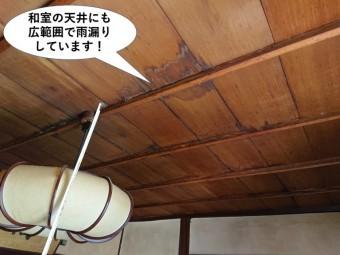 岸和田市の和室の天井にも広範囲で雨漏