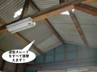 泉佐野市のガレージの波型スレートをすべて張替えます