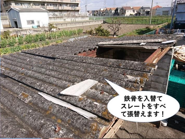 和泉市のごみ置き場の鉄骨を入替てスレートを張り替えます