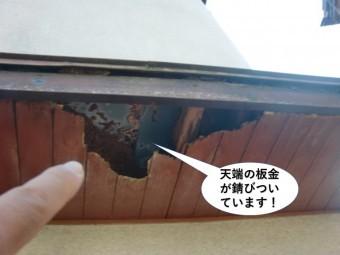 貝塚市の天端の板金が錆びついています
