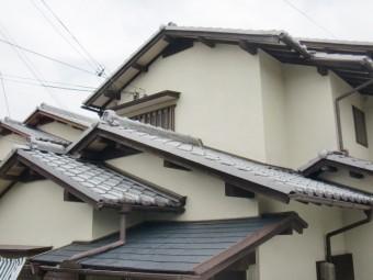 岸和田市天神山町の淡路産特上和瓦の葺き替え工事