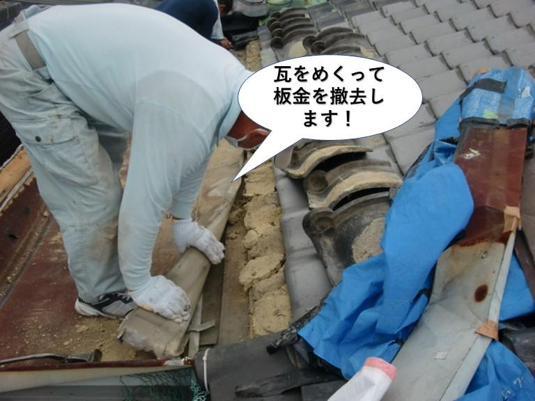 岸和田市の瓦をめくって板金を撤去します