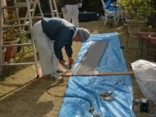 岸和田市野田町でガルバリューム鋼板縦平葺き現場加工