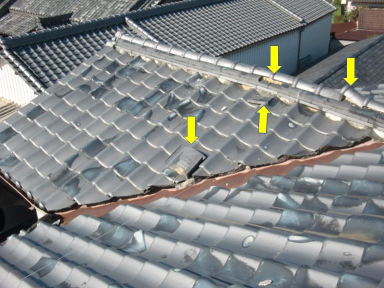 阪南市の屋根の被害箇所