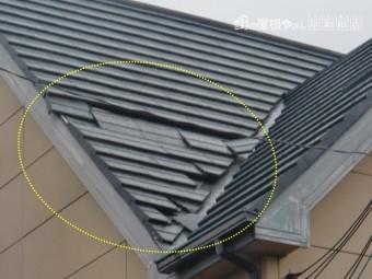 忠岡町の屋根の被害箇所