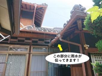 貝塚市の軒裏に雨水が伝います
