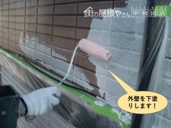 泉大津市の外壁を下塗りします