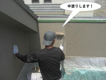 泉大津市の外壁を中塗り