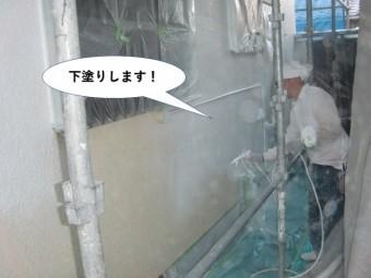 岸和田市の外壁を下塗りします
