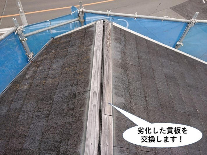 貝塚市の劣化した貫板を交換