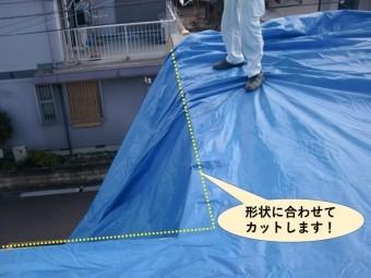 貝塚市の陸屋根の形状に合わせてカットします
