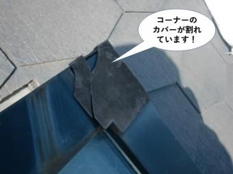 和泉市の天窓のコーナーのカバーが割れています