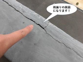 貝塚市の笠木に発生したクラックは雨漏りの原因になります
