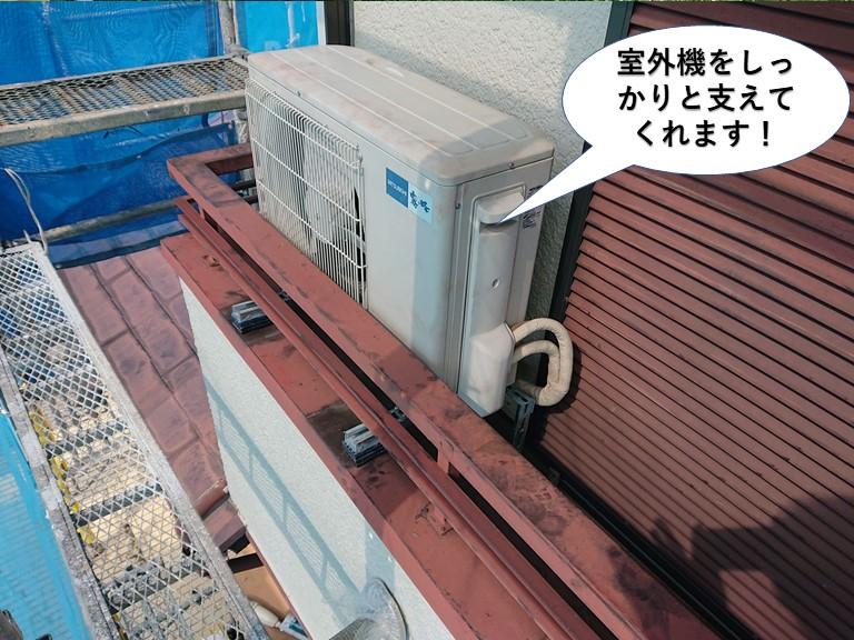 和泉市のエアコンの室外機をしっかりと支えてくれます