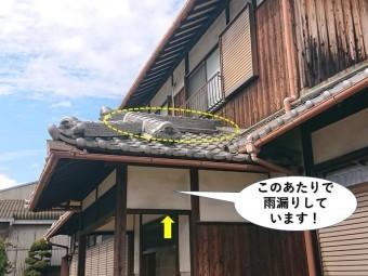 阪南市の雨漏りの位置